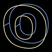glowing letter O isolated on black background