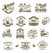 Set of SUMMER design elements and frames. Travel and vacation labels.