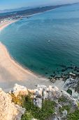 Beautiful Nazare beach in Portugal, taken from the cliffs