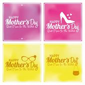 Vector Set Of Happy Mothers's Day Template Card Background