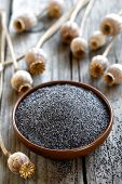 picture of opiate  - Poppy seeds with heads on a wooden table  - JPG