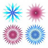 Set of 4 Pink and Blue Abstract Flowers