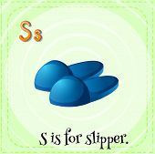 Illustration of a letter S is for slipper