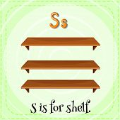 Illustration of a letter S is for shelf