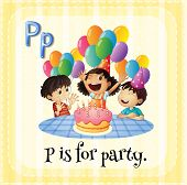 Illustration of a letter P is for party