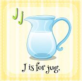 Illustration of a letter J is for jug
