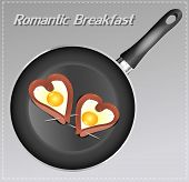 Scrambled Eggs With Sausage In A Heart Shape In The Pan. Romantic Breakfast.