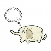 cartoon funny little elephant with thought bubble