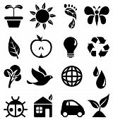 image of carbon-footprint  - Set of black icons with different symbols of the green movement - JPG