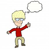 cartoon waving cool guy with thought bubble