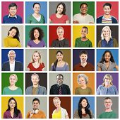 foto of human face  - People Diversity Faces Human Face Portrait Community Concept - JPG