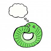 cartoon snake eating own tail with thought bubble
