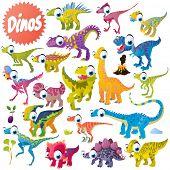 vector cute funny cartoon isolated dinosaur set