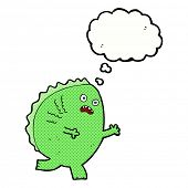 cartoon monster with thought bubble
