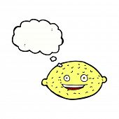 cartoon lemon with thought bubble