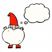 cartoon tiny santa with thought bubble