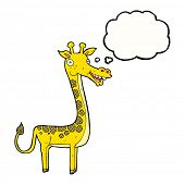 cartoon giraffe with thought bubble