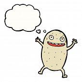 cartoon happy potato with thought bubble