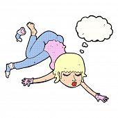 cartoon woman floating