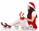 Christmas Girl With Gift.
