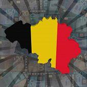 Belgium map flag on euros sunburst illustration