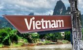 Vietnam wooden sign with exotic background