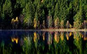 autumn landscape and its reflection in mountain lake