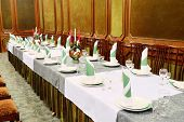 stock photo of banquet  - Banquet facilities served table - JPG