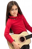 Pretty Little Girl Playing A Guitar