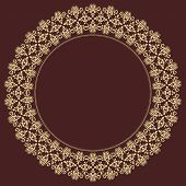 Geometric Abstract Seamless Vector Pattern with Round Golden Ornament