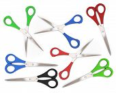 A Set Of Open And Closed Colorful Scissors On A White Background.