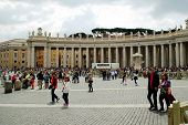 Tourists At Saint Peter's Square In Vatican City