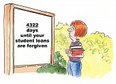 stock photo of forgiven  - Cartoon showing a teenage girl on college campus looking at a sign that says there will be 4 - JPG
