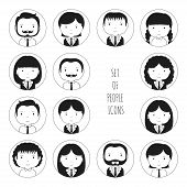 foto of avatar  - Set of monochrome silhouette office people icons - JPG