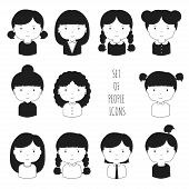 Set of monochrome female faces icons. Funny cartoon hand drawn faces sketch pictogram for your desig