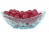 Crystal Glass Bowl With Cherries