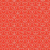 Romantic line seamless pattern with hearts. Beautiful vector illustration. Background. Endless textu