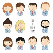 Set of colorful office people icons. Businessman. Businesswoman. Funny cartoon hand drawn faces sket