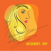 International Women's Day celebration with side face of a beautiful girl on orange background.