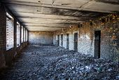 Inside The Old Ruined And Abandoned Brick Building