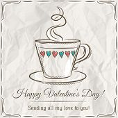 Valentine Card With Cup Of Hot Drink And Wishes Text,  Vector