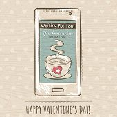 Valentine Card With Smartphone,  Vector