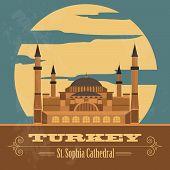 Turkey landmarks. Retro styled image.