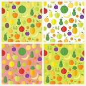 Set Of Seamless Patterns With Fruits And Berries. Vector Backgrounds