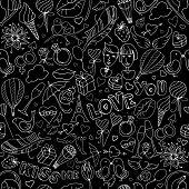 Valentine Day pattern. Sketch style.