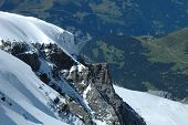 stock photo of firn  - Rock and snow nearby Jungfraujoch pass in Alps in Switzerland - JPG