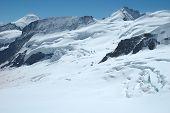 Crevasses, Ice And Snow Nearby Jungfraujoch In Switzerland