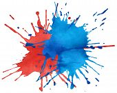 Blot Of Blue And Red Watercolor