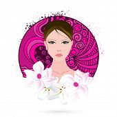 International Women's Day celebration with beautiful young girl face on floral decorated white background.