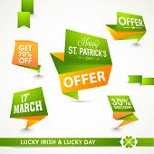 Big sale tags, ribbon and label design for Happy St. Patrick's Day celebration.